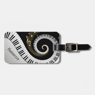 Personalized Piano Keys and Gold Music Notes Bag Tag