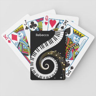 Personalized Piano Keys and Gold Music Notes Bicycle Playing Cards