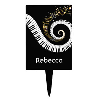 Personalized Piano Keys and Gold Music Notes Cake Topper