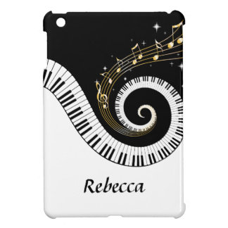 Personalized Piano Keys and Gold Music Notes Case For The iPad Mini
