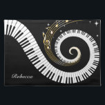 "Personalized Piano Keys and Gold Music Notes Cloth Placemat<br><div class=""desc"">Unusual musical design featuring swirling piano keys with gold musical notes flowing from the centre of the keys. This design would make the perfect gift for the piano lover and is available on a collection of gifts and paper products. sgb01</div>"