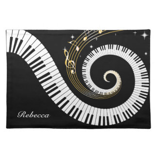 Personalized Piano Keys and Gold Music Notes Cloth Placemat