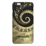 Personalized Piano Keys and Gold Music Notes Glossy iPhone 6 Plus Case