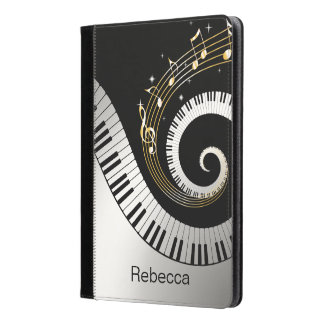 Personalized Piano Keys and Gold Music Notes iPad Air Case
