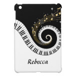 Personalized Piano Keys and Gold Music Notes iPad Mini Covers