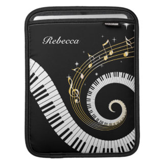 Personalized Piano Keys and Gold Music Notes iPad Sleeve