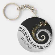 Personalized Piano Keys And Gold Music Notes Keychain at Zazzle