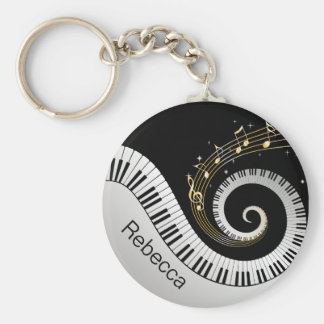 Personalized Piano Keys and Gold Music Notes Keychain