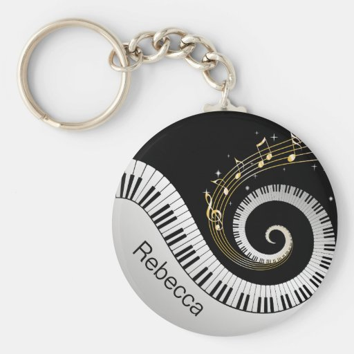 Personalized Piano Keys and Gold Music Notes Key Chain