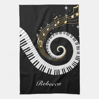 Personalized Piano Keys and Gold Music Notes Kitchen Towel