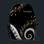 """Personalized Piano Keys and Gold Music Notes Messenger Bag<br><div class=""""desc"""">Unusual musical design featuring swirling piano keys with gold musical notes flowing from the centre of the keys. This design would make the perfect gift for the piano lover and is available on a collection of gifts and paper products. sgb01</div>"""