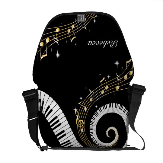 Personalized Piano Keys and Gold Music Notes Messenger Bag