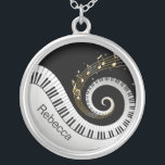 """Personalized Piano Keys and Gold Music Notes Silver Plated Necklace<br><div class=""""desc"""">Personalized musical notes design featuring swirling piano keys with gold musical notes flowing from the centre of the keys on a black and silver gray printed background. This design would make the perfect gift for the piano lover and is available on a collection of gifts and paper products.</div>"""
