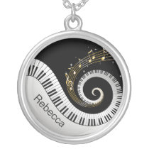 Personalized Piano Keys and Gold Music Notes Silver Plated Necklace