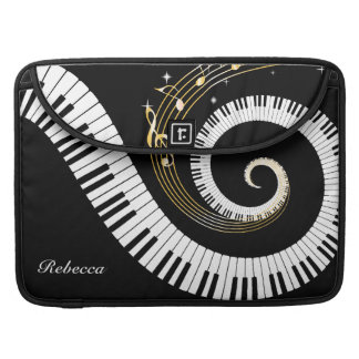 Personalized Piano Keys and Gold Music Notes Sleeve For MacBook Pro