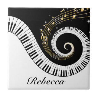 Personalized Piano Keys and Gold Music Notes Tile
