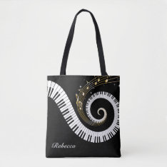 Personalized Piano Keys And Gold Music Notes Tote Bag at Zazzle