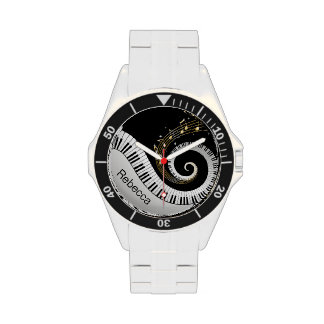 Personalized Piano Keys and Gold Music Notes Wristwatch