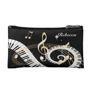 Personalized Piano Keys and Golden Music Notes Cosmetic Bag