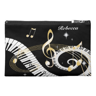 Personalized Piano Keys and Golden Music Notes Travel Accessory Bags