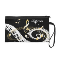 Personalized Piano Keys and Golden Music Notes Wristlet Purses
