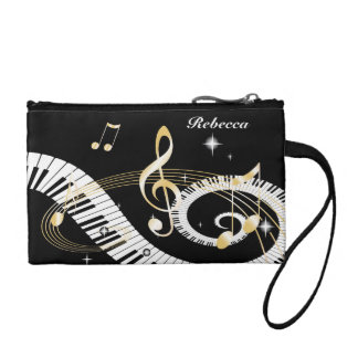 Personalized Piano Keys and Golden Music Notes Coin Purses