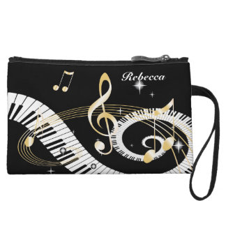 Personalized Piano Keys and Golden Music Notes Wristlet Purse