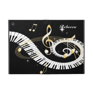 Personalized Piano Keys and Golden Music Notes Case For iPad Mini