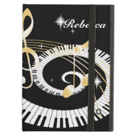 Personalized Piano Keys and Golden Music Notes iPad Cases