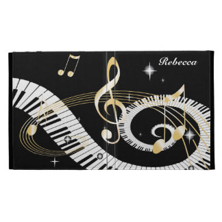 Personalized Piano Keys and Golden Music Notes iPad Folio Cases