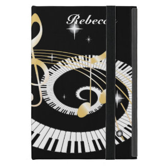 Personalized Piano Keys and Golden Music Notes iPad Mini Covers