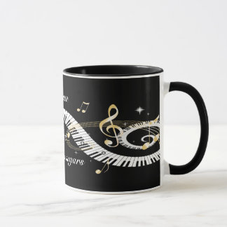 Personalized Piano Keys and Golden Music Notes Mug