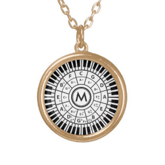 Personalized Piano Keys Circle of Fifths Gold Plated Necklace