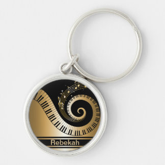 Personalized Piano Keys Gold Music Notes Silver-Colored Round Keychain