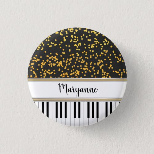 Gold Polka Dots Over Piano Keys Personalized Round Button