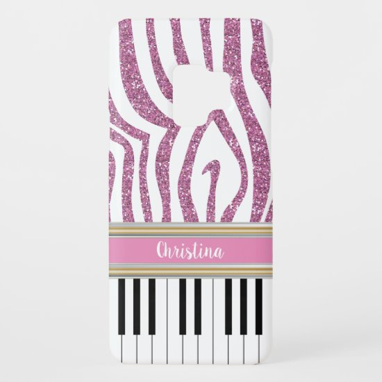 Personalized Piano Keys Pink Glitter Zebra Print Case-Mate Samsung Galaxy S9 Case