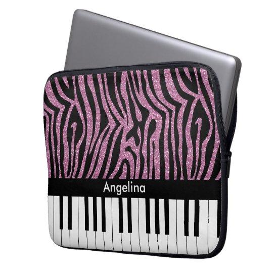 Personalized Piano Keys Pink Glitter Zebra Print Computer Sleeve