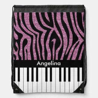 Personalized Piano Keys Pink Glitter Zebra Print Drawstring Backpack