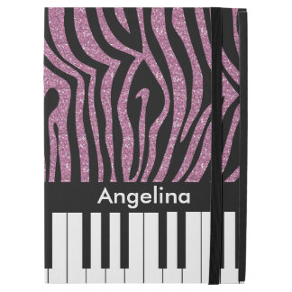 "Personalized Piano Keys Pink Glitter Zebra Print iPad Pro 12.9"" Case"