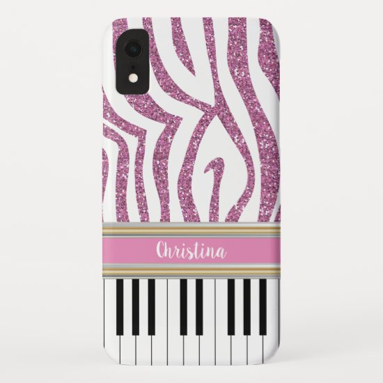 Personalized Piano Keys Pink Glitter Zebra Print iPhone XR Case