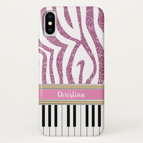 Personalized Piano Keys Pink Glitter Zebra Print iPhone XS Case