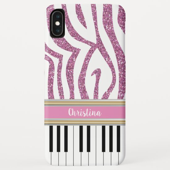 Personalized Piano Keys Pink Glitter Zebra Print iPhone XS Max Case