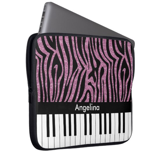 Personalized Piano Keys Pink Glitter Zebra Print Laptop Sleeve