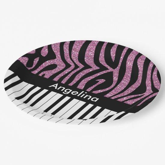 Personalized Piano Keys Pink Glitter Zebra Print Paper Plate