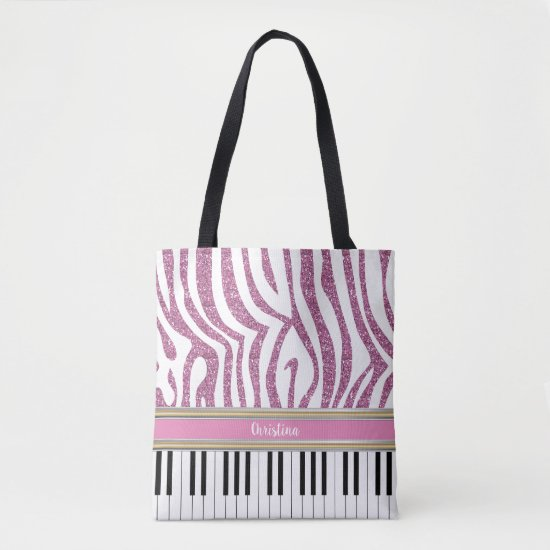 Personalized Piano Keys Pink Glitter Zebra Print Tote Bag