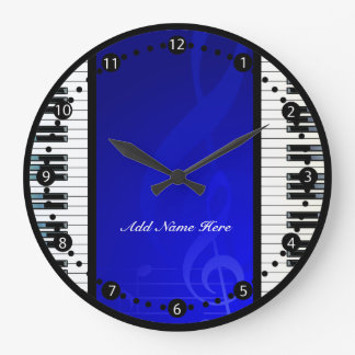 Personalized Piano Keys with Blue  Musical Notes Wall Clocks