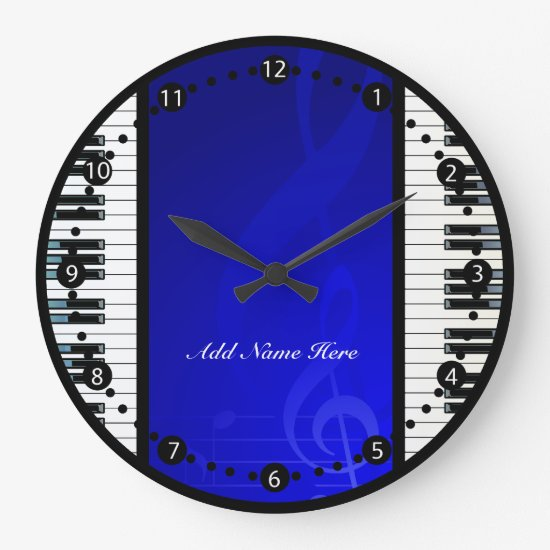 Personalized Piano Keys with Blue  Musical Notes Large Clock