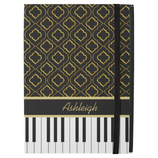 "Personalized Piano Keys with Gold Quatrefoil iPad Pro 12.9"" Case"