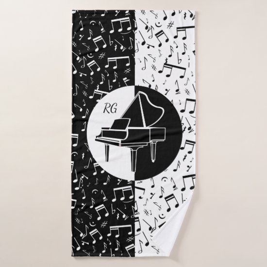 Personalized Piano lover art Bath Towel Set