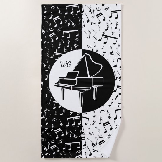 Personalized Piano lover art Beach Towel